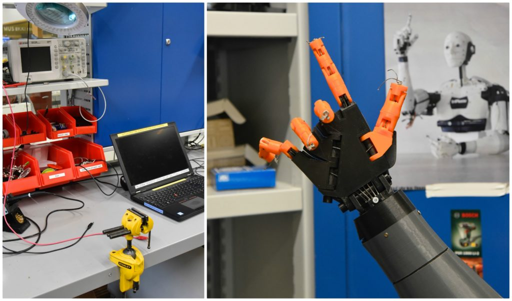 A collage of two photos from the makerspace in Iso Omena public library. On the left is a photo of a computer and storage bins. On the right is a robotic hand.