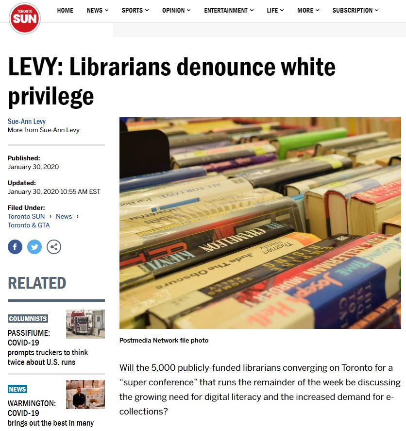 Screen shot of online newspaper article that features a picture of books