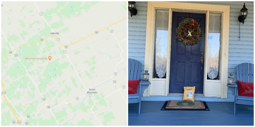 Map and photo of doorstep with chairs and blue door.