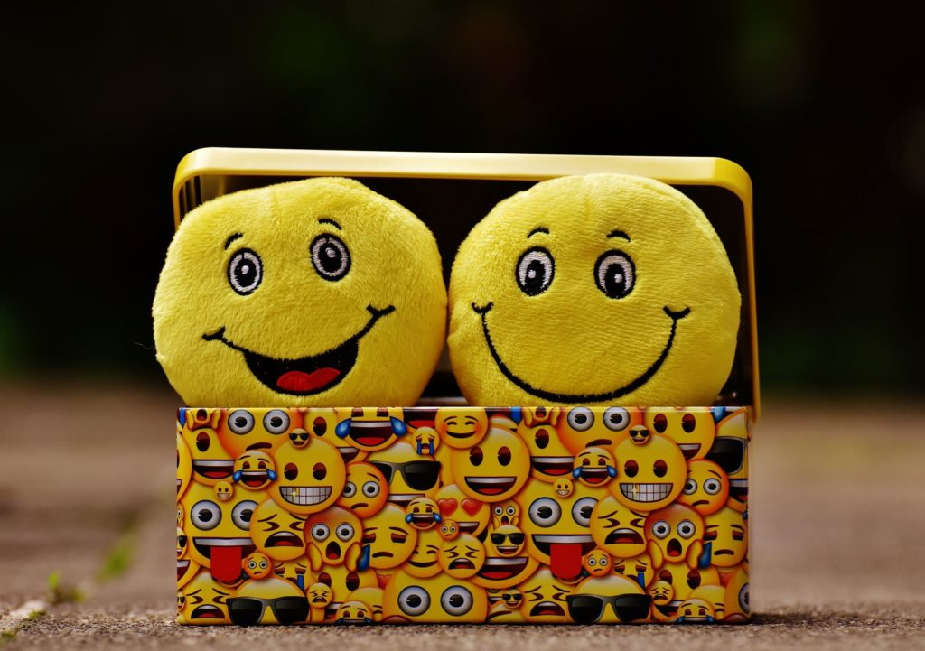 Box with smiley faces on it and two smiley faced stuffed toys in it.