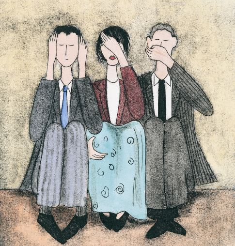 Cartoon sketch of three people covering ears, eyes and mouth