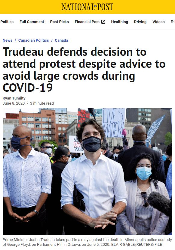 Screen shot of newspaper article about Prime Minister Trudeau attending Black Lives Matter rally in Ottawa. He is in the centre wearing a black mask.