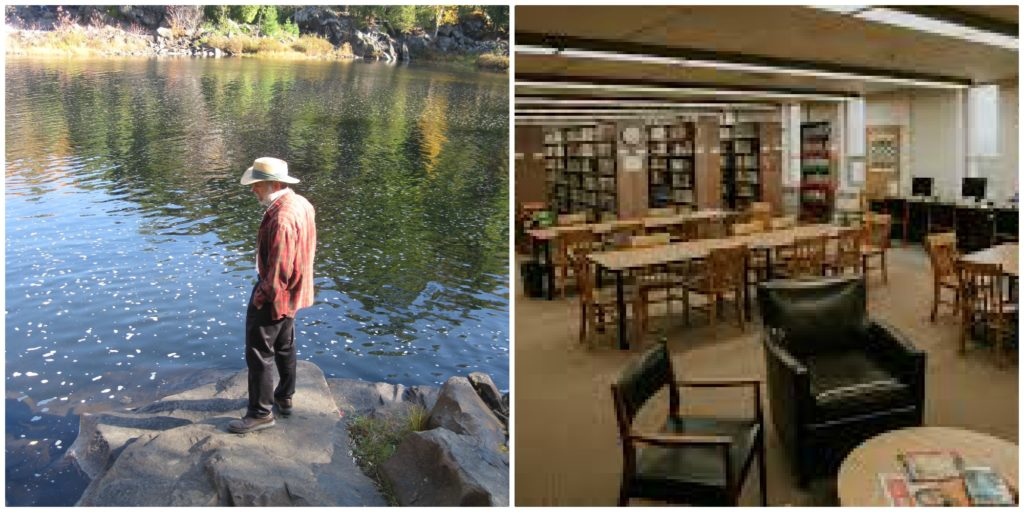 A collage of two photos. In one a man stands on a riverbed. The other is an indoor shot of the University of Sudbury library.