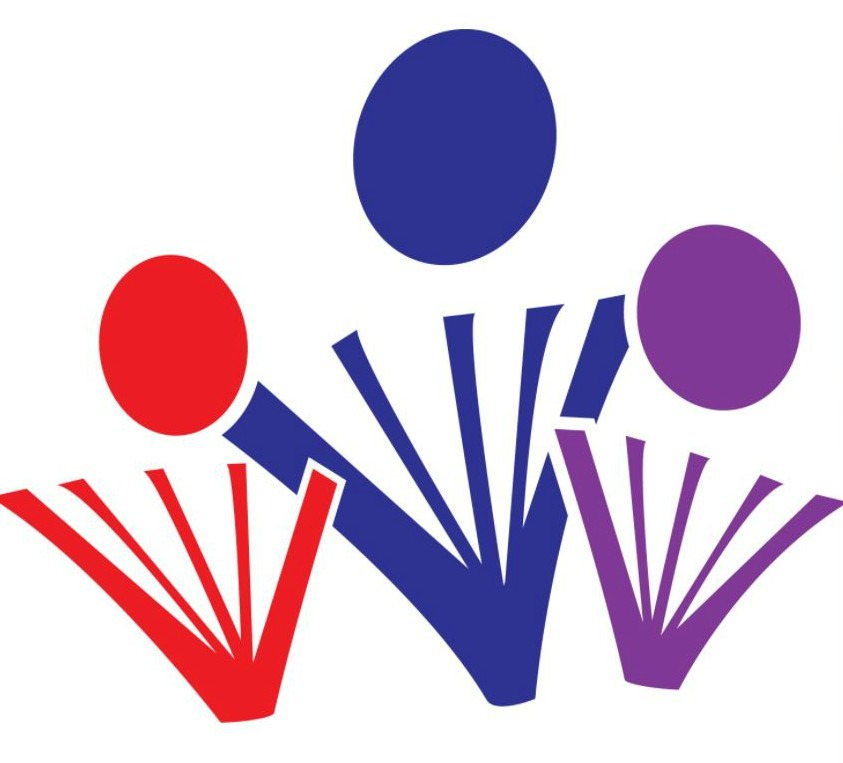 Sault St. Marie library logo red, blue, purple stylized figures
