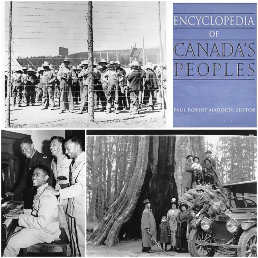 A collage of four images, three of ethnic groups and one of the cover of the Encyclopedia of Canada's Peoples
