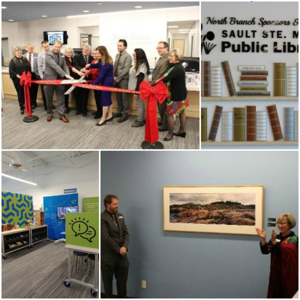 Four photos related to the opening of the new North Branch in Sault St. Marie