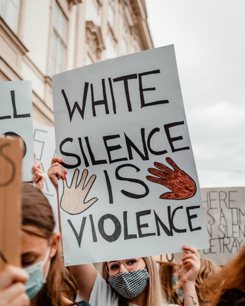 Photo of poster reading White silence is violence