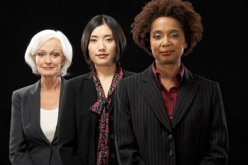 Three women (White, Asian, Black)