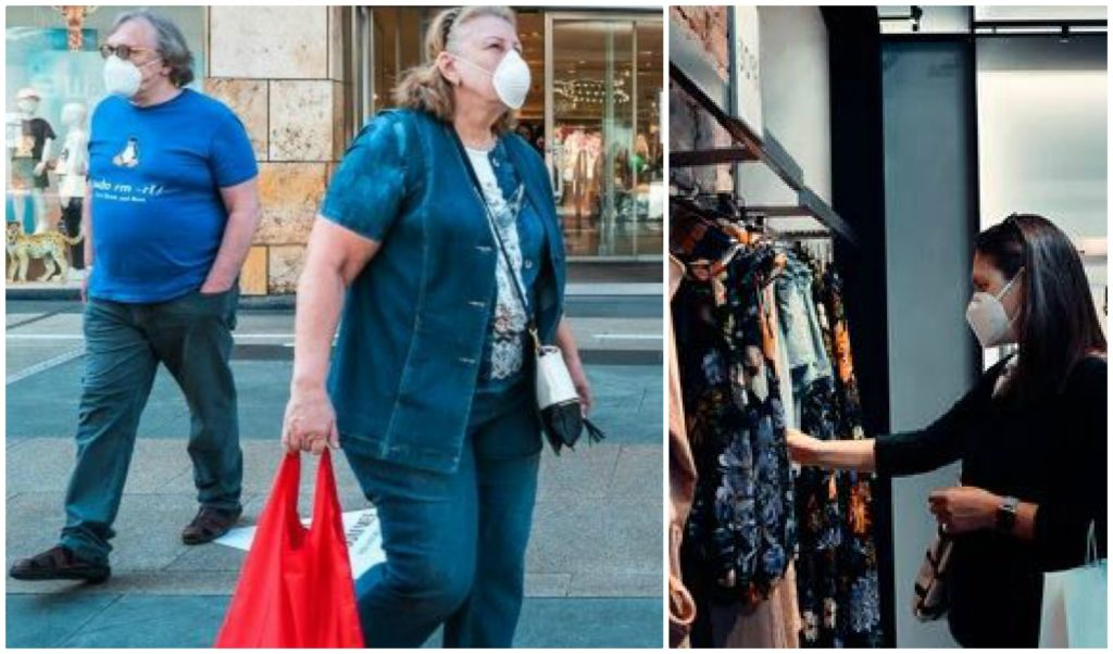 A collage of two photos of shoppers wearing masks