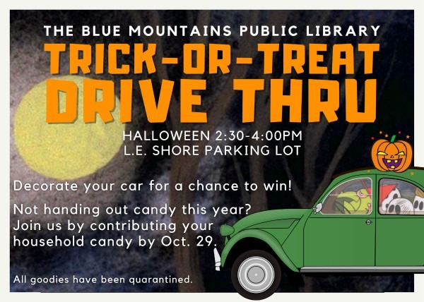 B;ue Mountains Public Library Halloween Drive Thru Trick Or Treat Invitation