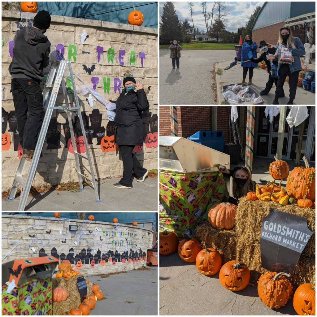 A collage of pictures of Halloween in Thornbury, Ontario