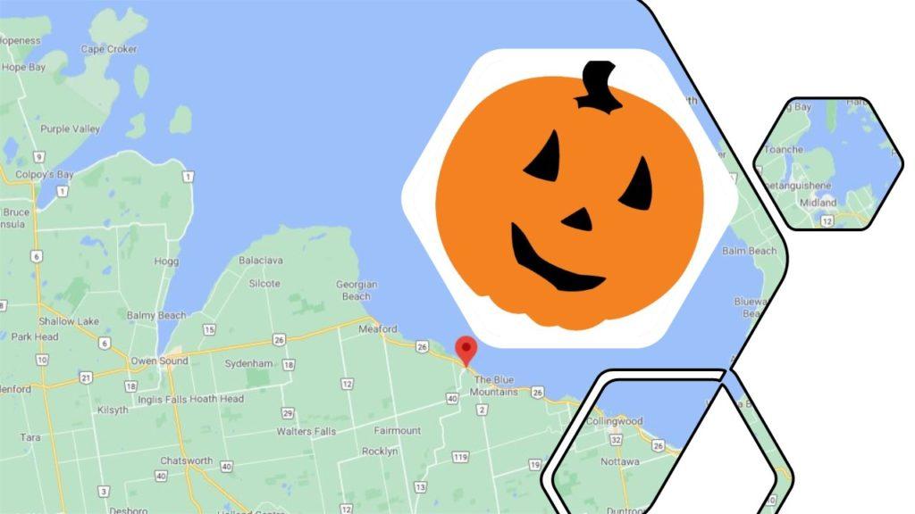 Pumpkin over a map of Thornbury, Ontario