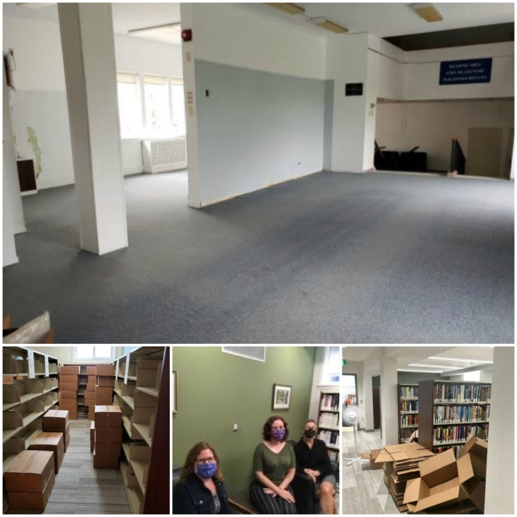 Four photos featuring stages of moving a library and staff