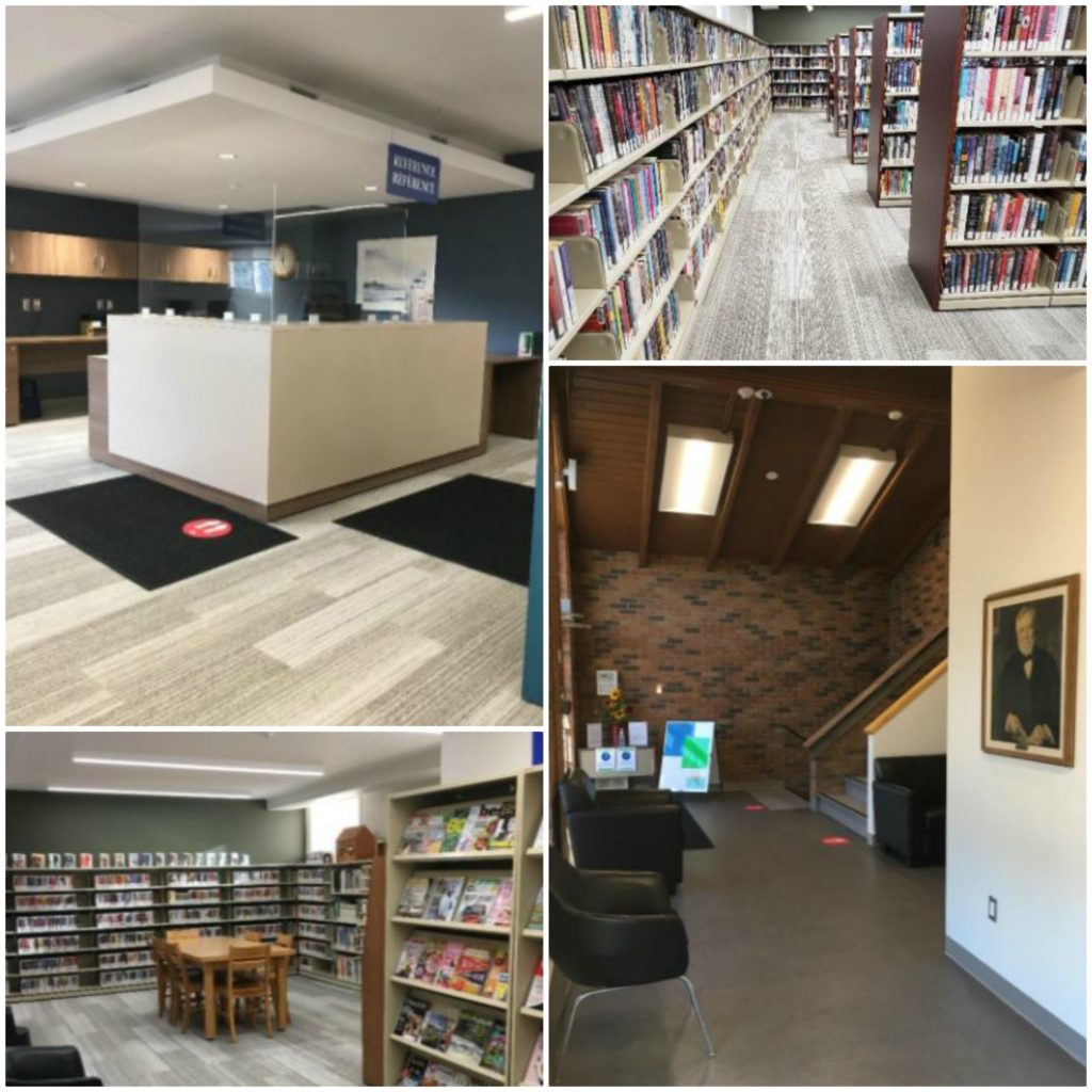 Four photos featuring seating, books and reference desk at a new library