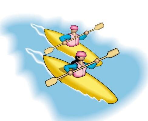 Two People Paddling In A Kayak (cartoon)