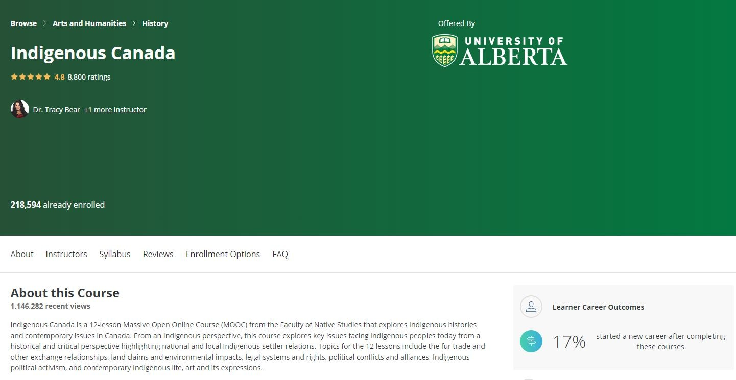Screenshot of University of Alberta MOOC