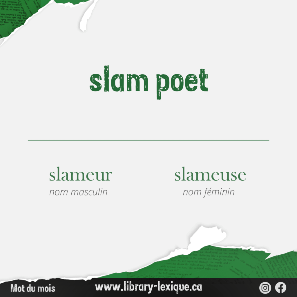 """A graphic showing the translation of """"slam poet"""" into French."""
