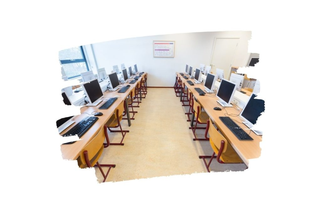 A computer lab shown through a lens of pain strokes