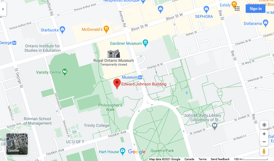 A Google map showing the location of the Edward Johnson Building on U of T's dowtown campus.