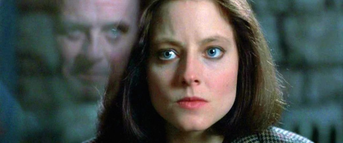 still image of Jodie Foster and Anthony Hopkins from The Silence of the Lambs