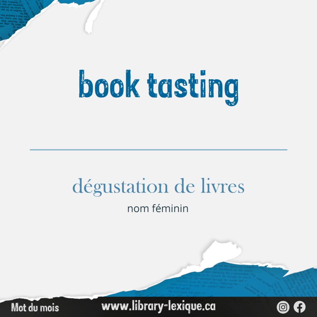 """A graphic showing the translation of """"book tasting"""" and the contact information for Library Lexique"""