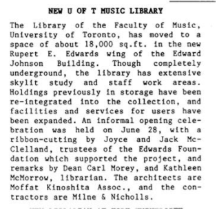 The announcement of U of T Music Library's move into the Edward Johnson Building