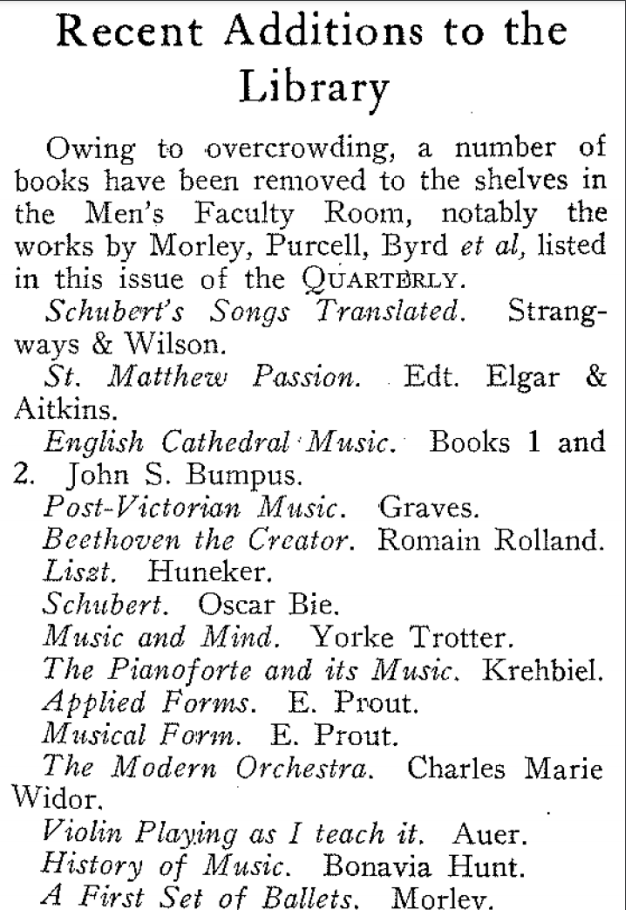 A second list of recent additions to the library, this time particularly a numbe rof texts that have had to be stored elsewhere due to overcrowding