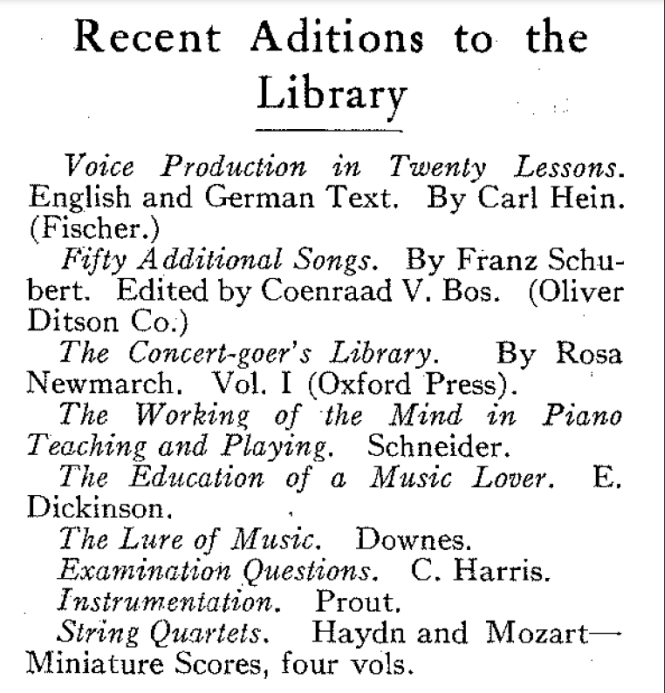 A list of recent additions to the U of T Music Library in the early 20th century.