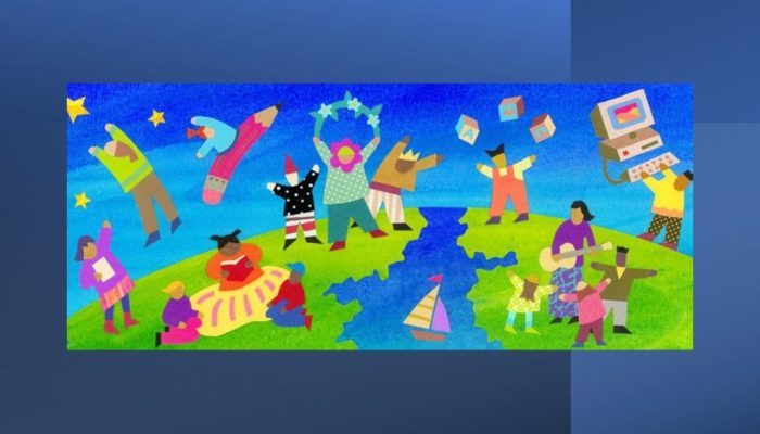 A Stylized Painting Of Children Celebrating Their Diversity