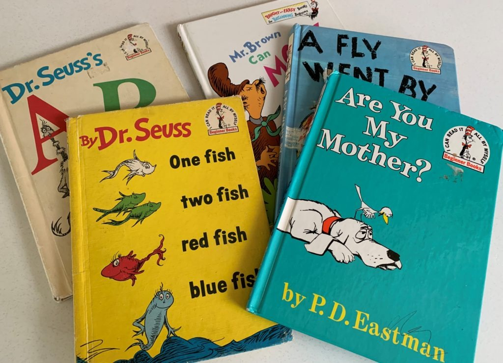 A stack of books by Dr. Seuss