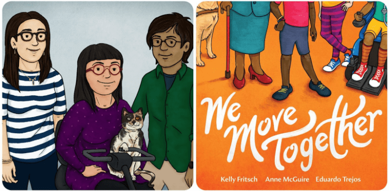 """The cover and an image from within the picturebook """"We move together"""""""