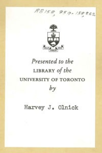 A book plate marking a rare book in the U of T Music Library's collection as a donation from Olnick