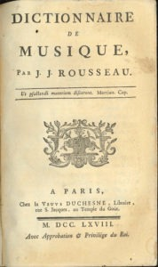 Cover page of Rousseau's Dictionnaire de musique
