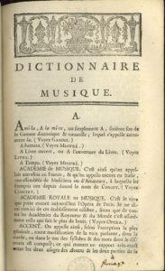 First page of Rousseau's Dictionnaire de musique