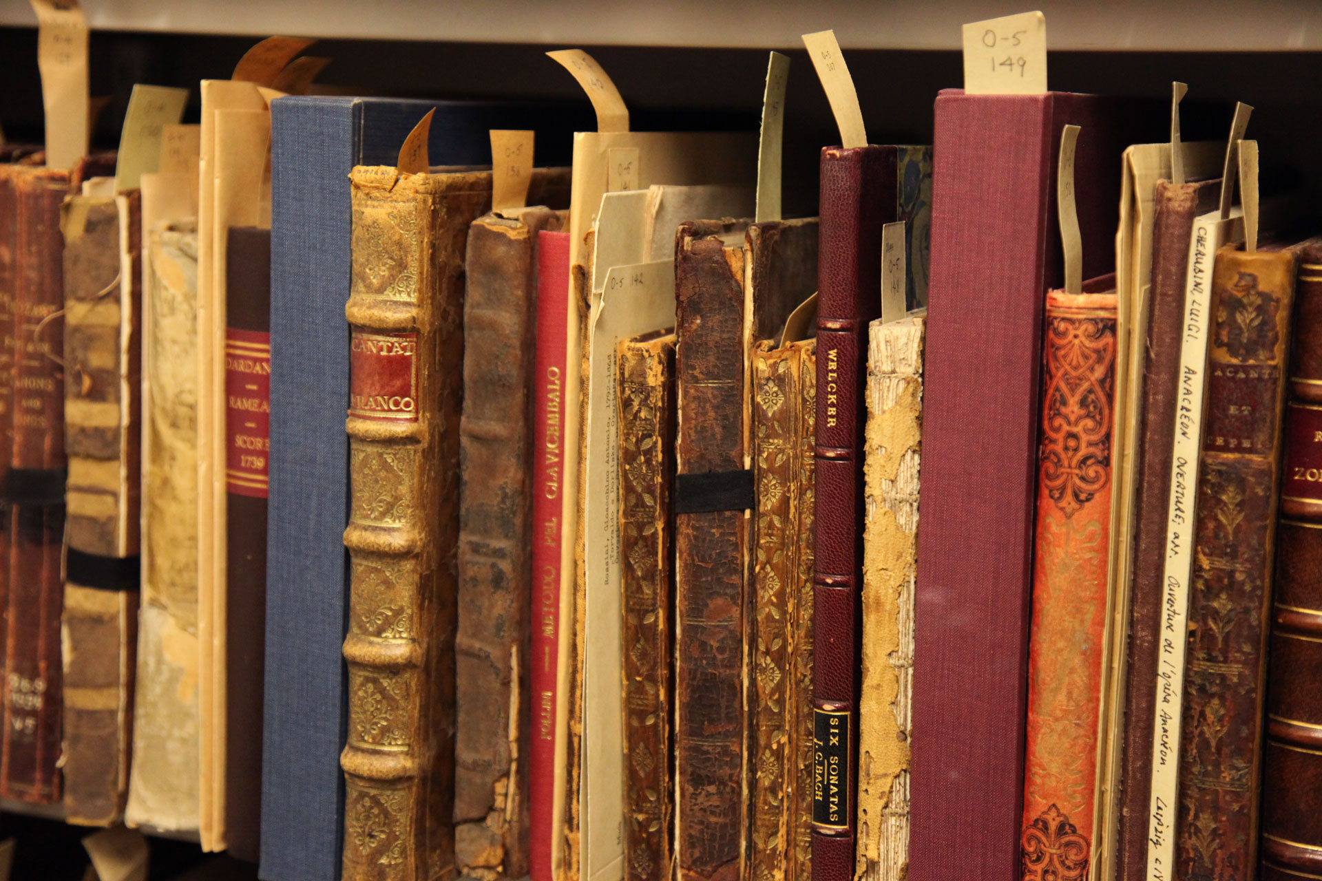 A shelf of rare books from the U of T Music Library