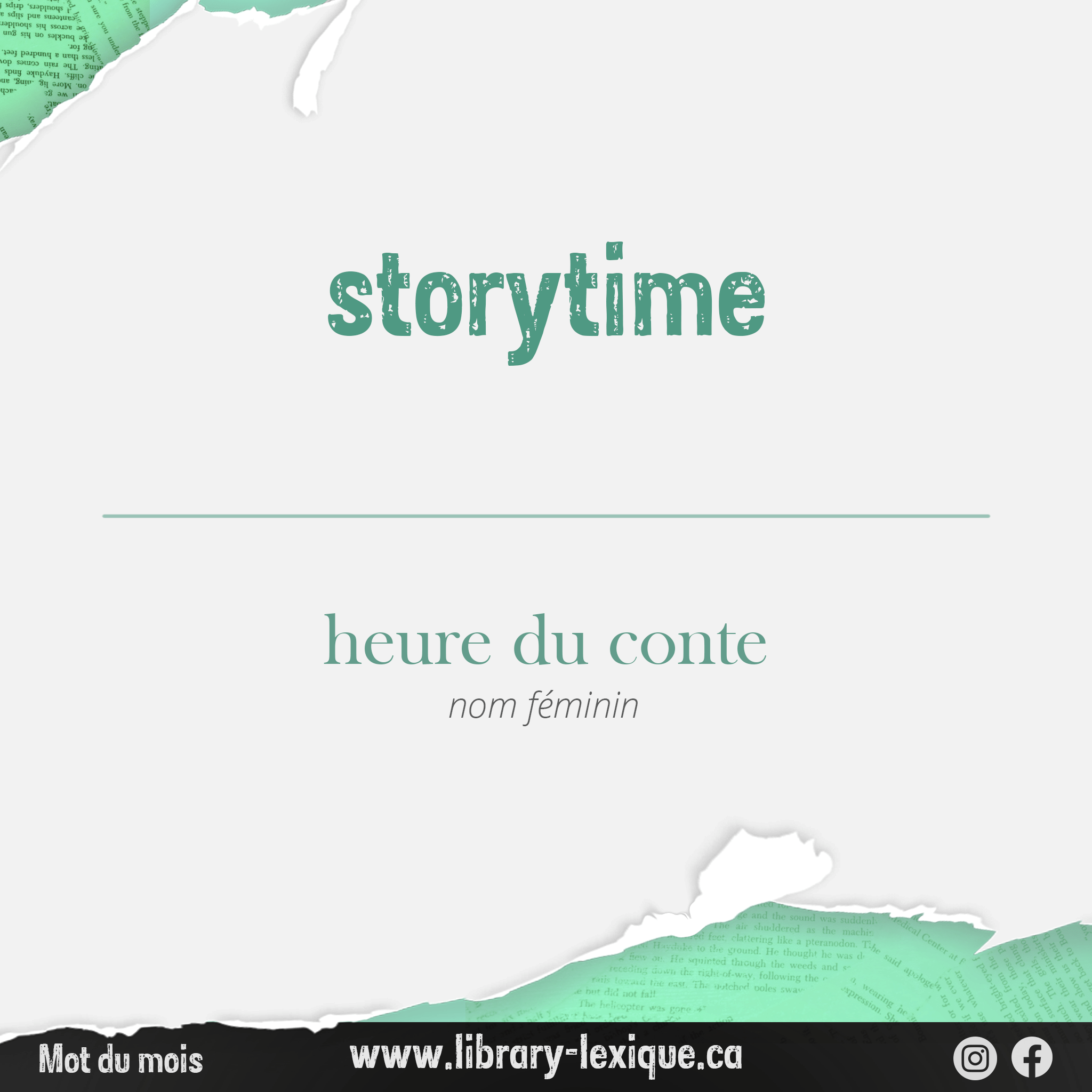 """Graphic showing the translation for """"storytime"""" in French"""