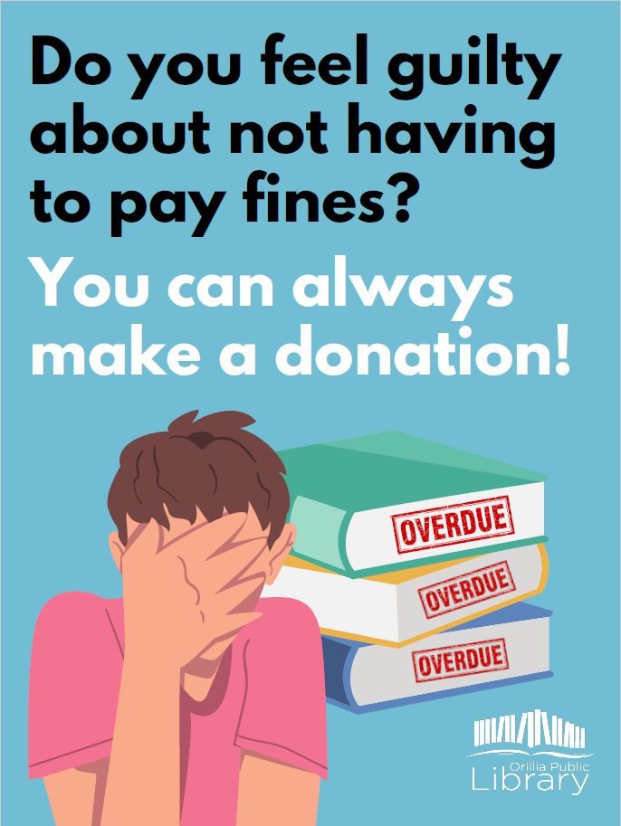 """Poster with the text 'Do you feel guilty about not having to pay fines? You can always make a donation!"""""""