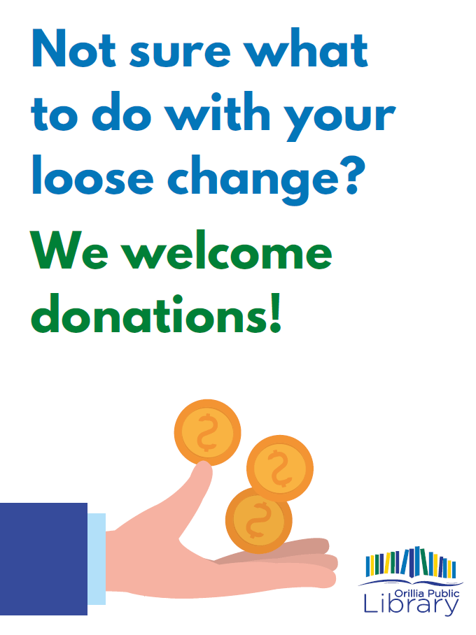 """Poster with the text """"Not sure what to do with your loose change? We welcome donations"""""""